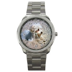 Maltese On Beach Sport Metal Watch