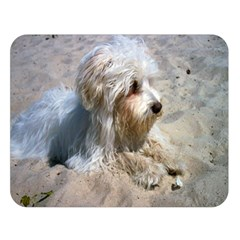 Maltese On Beach Double Sided Flano Blanket (Large)