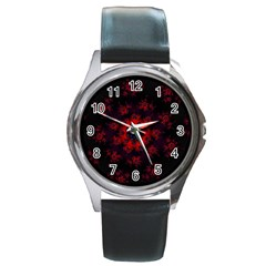 Fractal Abstract Blossom Bloom Red Round Metal Watch
