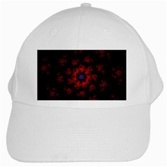Fractal Abstract Blossom Bloom Red White Cap
