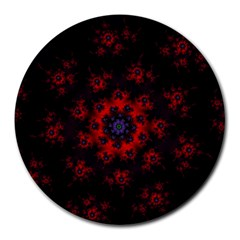 Fractal Abstract Blossom Bloom Red Round Mousepads