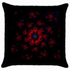 Fractal Abstract Blossom Bloom Red Throw Pillow Case (black)