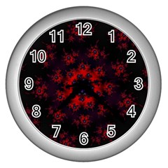 Fractal Abstract Blossom Bloom Red Wall Clocks (silver)