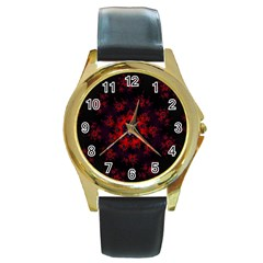 Fractal Abstract Blossom Bloom Red Round Gold Metal Watch