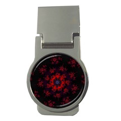 Fractal Abstract Blossom Bloom Red Money Clips (Round)