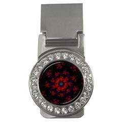 Fractal Abstract Blossom Bloom Red Money Clips (cz)