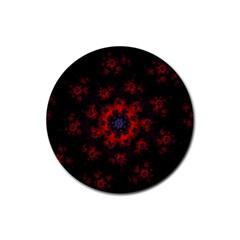 Fractal Abstract Blossom Bloom Red Rubber Round Coaster (4 Pack)
