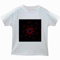 Fractal Abstract Blossom Bloom Red Kids White T Shirts