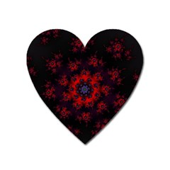 Fractal Abstract Blossom Bloom Red Heart Magnet