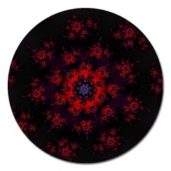 Fractal Abstract Blossom Bloom Red Magnet 5  (round)