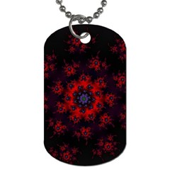 Fractal Abstract Blossom Bloom Red Dog Tag (two Sides)