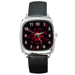 Fractal Abstract Blossom Bloom Red Square Metal Watch