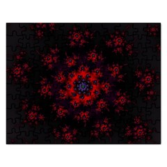 Fractal Abstract Blossom Bloom Red Rectangular Jigsaw Puzzl