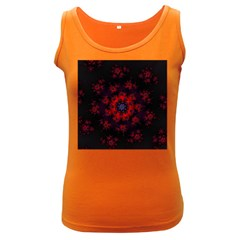 Fractal Abstract Blossom Bloom Red Women s Dark Tank Top