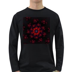 Fractal Abstract Blossom Bloom Red Long Sleeve Dark T Shirts