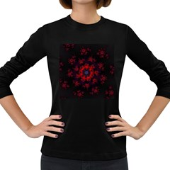Fractal Abstract Blossom Bloom Red Women s Long Sleeve Dark T Shirts