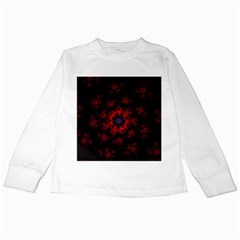 Fractal Abstract Blossom Bloom Red Kids Long Sleeve T-Shirts