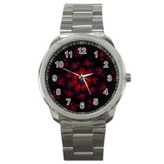 Fractal Abstract Blossom Bloom Red Sport Metal Watch