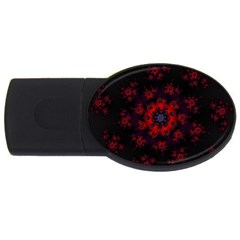 Fractal Abstract Blossom Bloom Red Usb Flash Drive Oval (4 Gb)