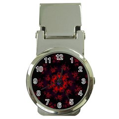 Fractal Abstract Blossom Bloom Red Money Clip Watches