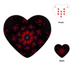 Fractal Abstract Blossom Bloom Red Playing Cards (Heart)