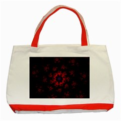 Fractal Abstract Blossom Bloom Red Classic Tote Bag (red)