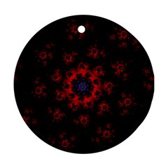Fractal Abstract Blossom Bloom Red Round Ornament (two Sides)