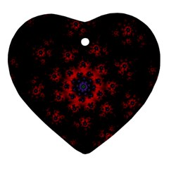 Fractal Abstract Blossom Bloom Red Heart Ornament (two Sides)