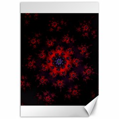 Fractal Abstract Blossom Bloom Red Canvas 12  X 18