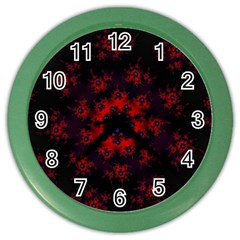 Fractal Abstract Blossom Bloom Red Color Wall Clocks