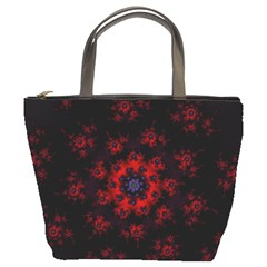 Fractal Abstract Blossom Bloom Red Bucket Bags