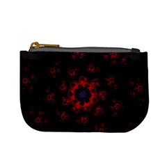 Fractal Abstract Blossom Bloom Red Mini Coin Purses