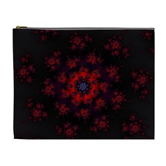 Fractal Abstract Blossom Bloom Red Cosmetic Bag (xl)