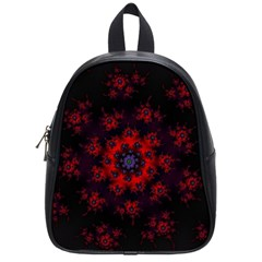Fractal Abstract Blossom Bloom Red School Bags (small)