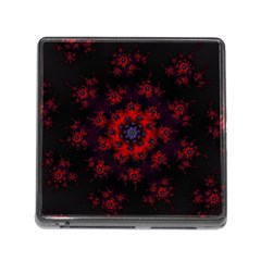 Fractal Abstract Blossom Bloom Red Memory Card Reader (square)
