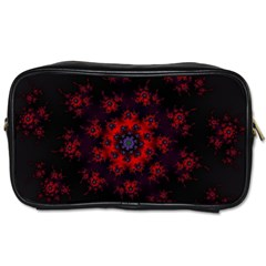 Fractal Abstract Blossom Bloom Red Toiletries Bags 2 Side