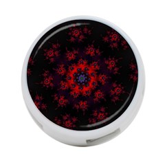 Fractal Abstract Blossom Bloom Red 4 Port Usb Hub (two Sides)