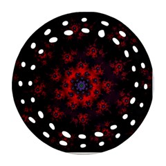 Fractal Abstract Blossom Bloom Red Ornament (round Filigree)