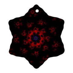 Fractal Abstract Blossom Bloom Red Snowflake Ornament (two Sides)