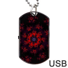 Fractal Abstract Blossom Bloom Red Dog Tag Usb Flash (two Sides)