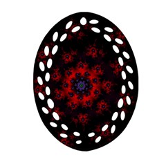 Fractal Abstract Blossom Bloom Red Ornament (oval Filigree)