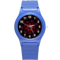 Fractal Abstract Blossom Bloom Red Round Plastic Sport Watch (s)