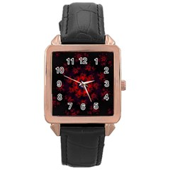 Fractal Abstract Blossom Bloom Red Rose Gold Leather Watch