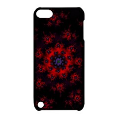Fractal Abstract Blossom Bloom Red Apple Ipod Touch 5 Hardshell Case With Stand