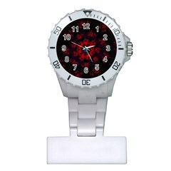 Fractal Abstract Blossom Bloom Red Plastic Nurses Watch