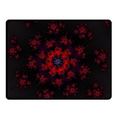 Fractal Abstract Blossom Bloom Red Double Sided Fleece Blanket (small)