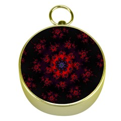 Fractal Abstract Blossom Bloom Red Gold Compasses