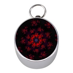 Fractal Abstract Blossom Bloom Red Mini Silver Compasses