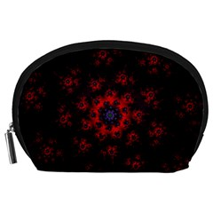 Fractal Abstract Blossom Bloom Red Accessory Pouches (large)