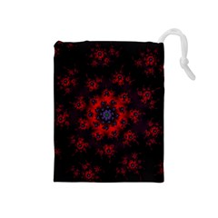 Fractal Abstract Blossom Bloom Red Drawstring Pouches (medium)